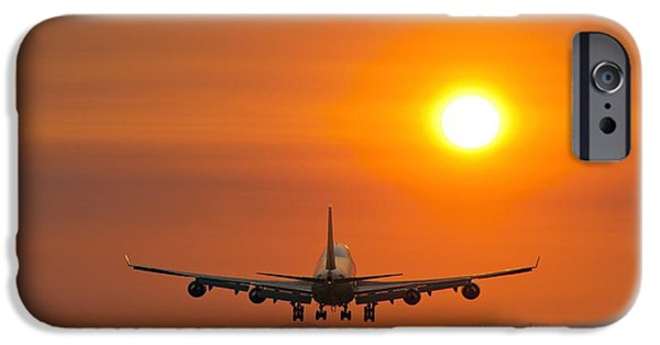Boeing 747 iPhone Cases - Aeroplane Landing At Sunset iPhone Case by David Nunuk