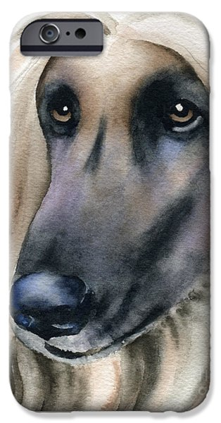 Afghan Hound Watercolor iPhone Cases - Afghan Hound iPhone Case by David Rogers