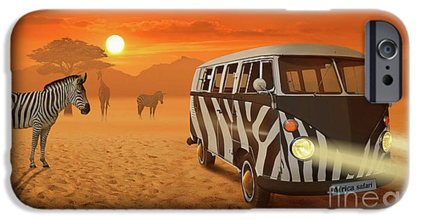 Stripes iPhone Cases - Africa Safari and stripes meeting iPhone Case by Monika Juengling
