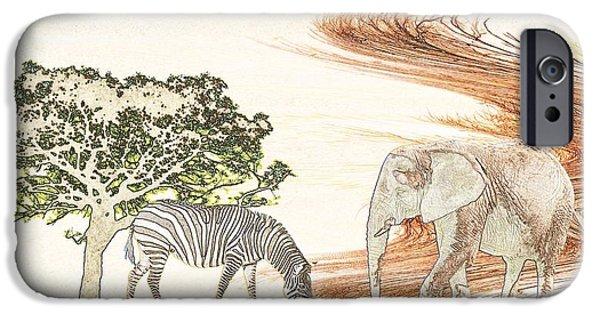 Zebra Digital iPhone Cases - Africa iPhone Case by Sharon Lisa Clarke