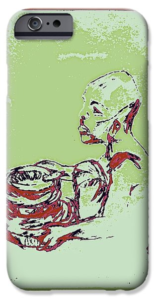 Matting iPhone Cases - African Boy Blue iPhone Case by Sheri Parris