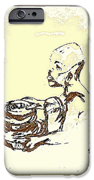 Matting iPhone Cases - African Boy Brown iPhone Case by Sheri Parris