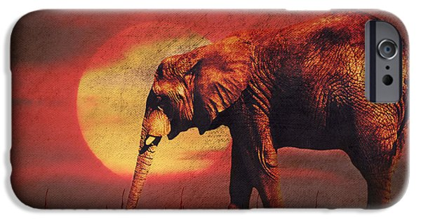 Recently Sold -  - Abstract Digital Mixed Media iPhone Cases - African elephant iPhone Case by Angela Doelling AD DESIGN Photo and PhotoArt