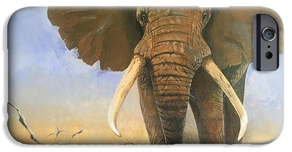 Elephants iPhone Cases - African Elephant iPhone Case by Devon Packwood