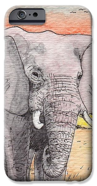 Elephants iPhone Cases - African Elephant iPhone Case by Patsy Fumetti  - SouthWest Design Studio