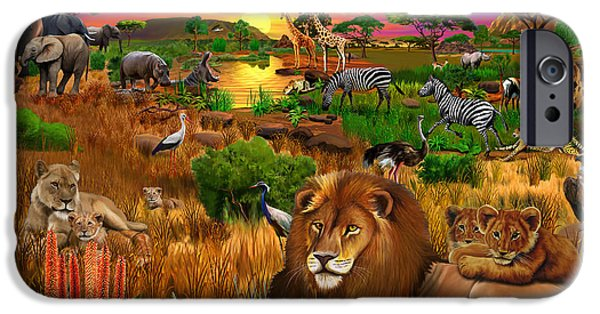 Elephants iPhone Cases - African Evening iPhone Case by Gerald Newton