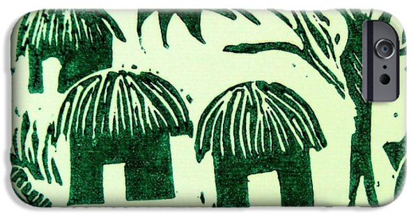 Lino Print Reliefs iPhone Cases - African Huts iPhone Case by Caroline Street