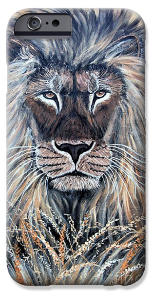 African Lion iPhone Case by Nick Gustafson