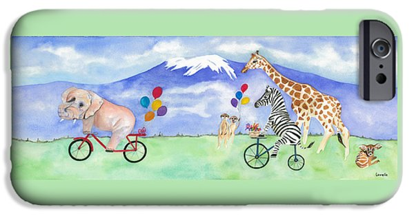 Elephants iPhone Cases - African Party The Mural iPhone Case by Kimberly Lavelle