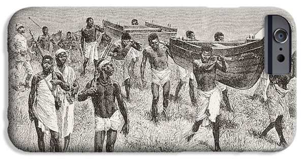 Dismantled iPhone Cases - African Porters Carrying Henry Morton iPhone Case by Vintage Design Pics