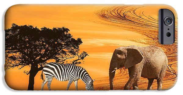 Elephant iPhone Cases - African Safari iPhone Case by Sharon Lisa Clarke