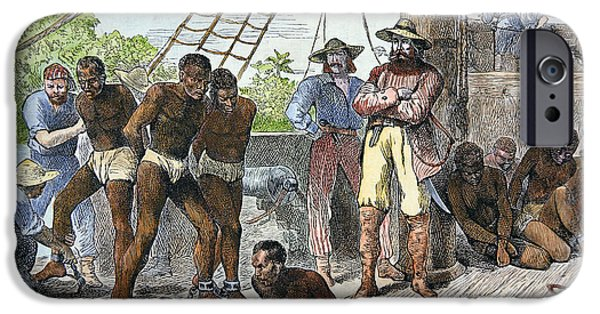 Harsh Conditions iPhone Cases - African slaves being taken on board ship bound for USA iPhone Case by American School