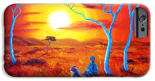 Surreal Landscape iPhone Cases - African Sunset Meditation iPhone Case by Laura Iverson
