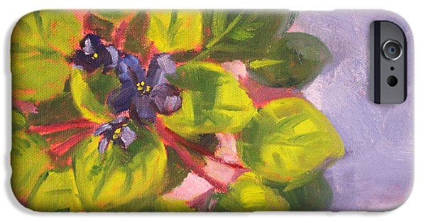 """indoor"" Still Life Paintings iPhone Cases - African Violet Still Life Oil Painting iPhone Case by Nancy Merkle"