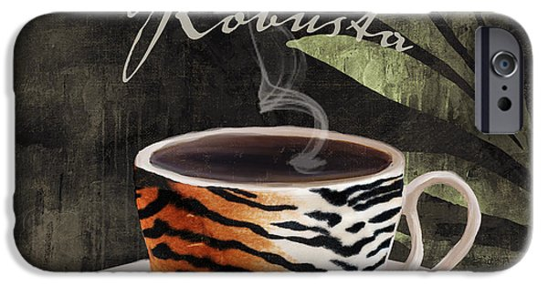 Espresso Paintings iPhone Cases - Afrikan Coffees II iPhone Case by Mindy Sommers