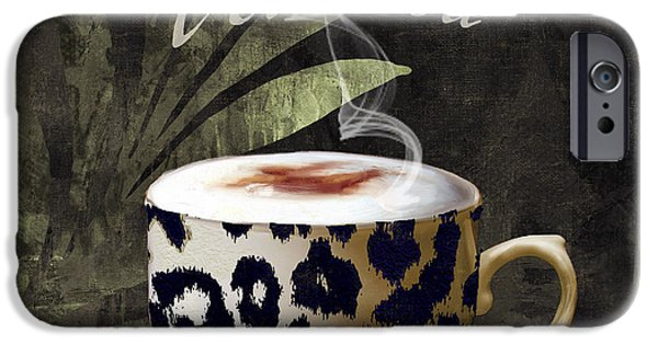Espresso Paintings iPhone Cases - Afrikan Coffees III iPhone Case by Mindy Sommers