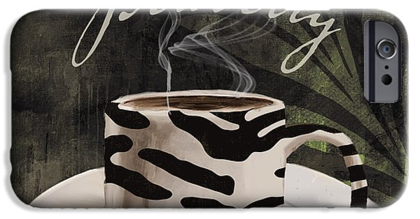 Espresso Paintings iPhone Cases - Afrikan Coffees iPhone Case by Mindy Sommers