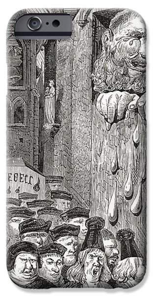 Torn Drawings iPhone Cases - After A Gustave Dore Illustration To A iPhone Case by Ken Welsh