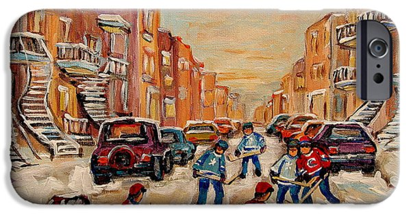 Afterschool Hockey Montreal Paintings iPhone Cases - After School Hockey Game iPhone Case by Carole Spandau