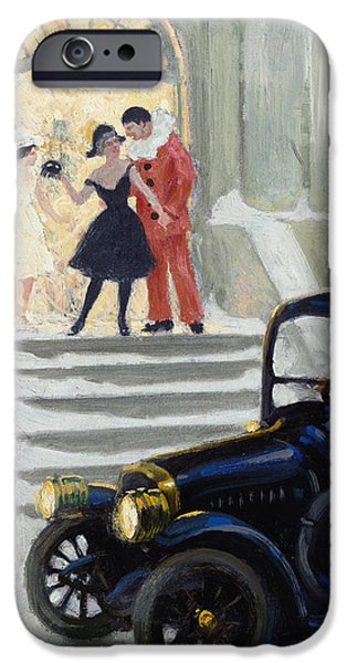Old Cars iPhone Cases - After the Ball iPhone Case by Paul Fischer