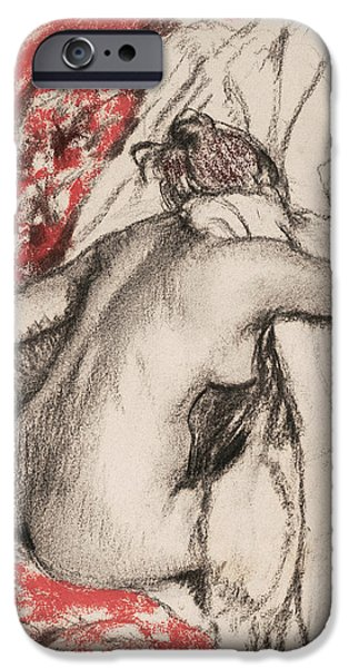 19th Century Pastels iPhone Cases - After the Bath Seated Woman Drying Herself iPhone Case by Edgar Degas