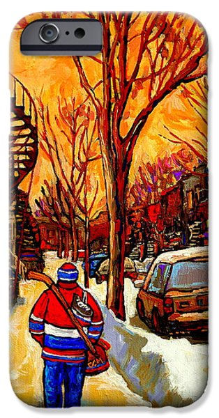 Afterschool Hockey Montreal Paintings iPhone Cases - After The Hockey Game A Winter Walk At Sundown Montreal City Scene Painting  By Carole Spandau iPhone Case by Carole Spandau