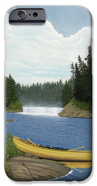 Canoe Waterfall Paintings iPhone Cases - After the Rapids iPhone Case by Kenneth M  Kirsch
