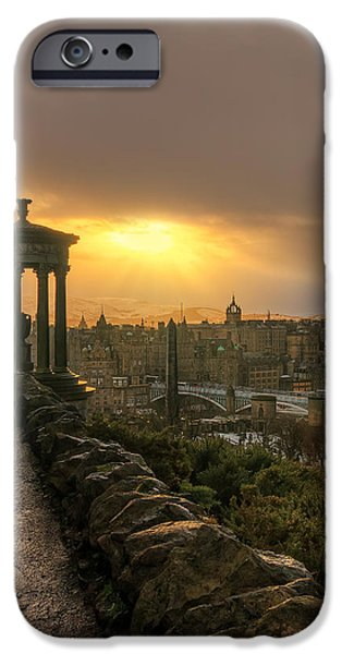 Winter Storm iPhone Cases - After the Storm from Calton Hill iPhone Case by Miles Gray
