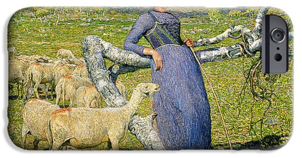 Rural iPhone Cases - Afternoon in the Alps iPhone Case by Giovanni Segantini