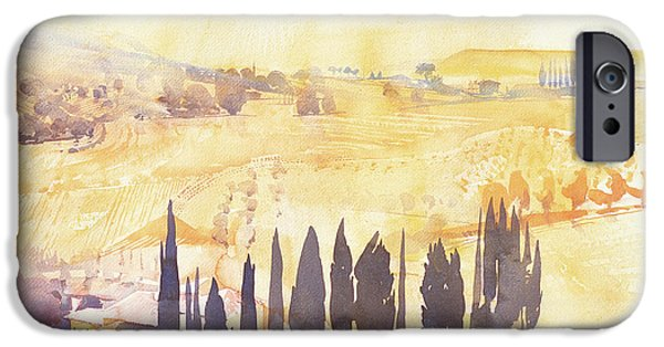 Tuscan Landscapes iPhone Cases - Afternoon in Val dOrcia iPhone Case by Simon Fletcher