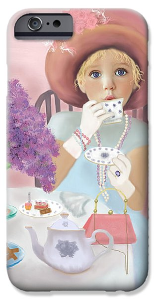Tea Party iPhone Cases - Afternoon Tea iPhone Case by Sannel Larson