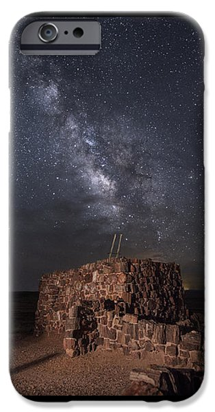 Petrified Forest Arizona iPhone Cases - Agate House at Night2 iPhone Case by Melany Sarafis