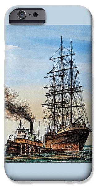 Tall Ship Paintings iPhone Cases - Age of Steam and Sail iPhone Case by James Williamson