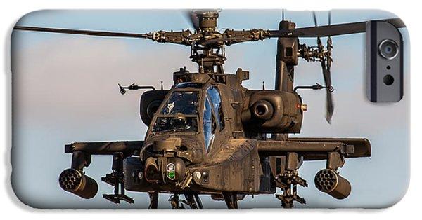 Iraq Prints iPhone Cases - AH64 Apache flying iPhone Case by Ken Brannen