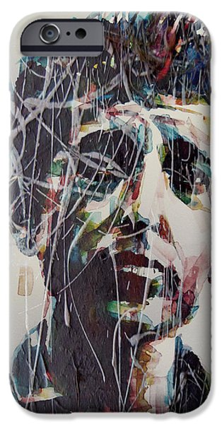 Bob Dylan Paintings iPhone Cases - Aint Gonna Work On Maggies Farm No More  iPhone Case by Paul Lovering