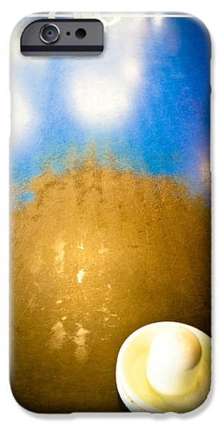Disc iPhone Cases - Air Hockey - Vintage Blue Top iPhone Case by Colleen Kammerer