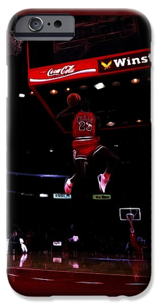Dunk Paintings iPhone Cases - Air Jordan 1988 Slam Dunk Contest iPhone Case by Brian Reaves