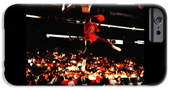 Dunk Mixed Media iPhone Cases - Air Jordan 1988 Slam Dunk Contest 8c iPhone Case by Brian Reaves