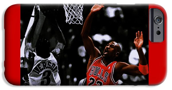 Utah Jazz iPhone Cases - Air Jordan and Allen Iverson iPhone Case by Brian Reaves