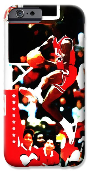Dunk Mixed Media iPhone Cases - Air Jordan in Flight 5b iPhone Case by Brian Reaves