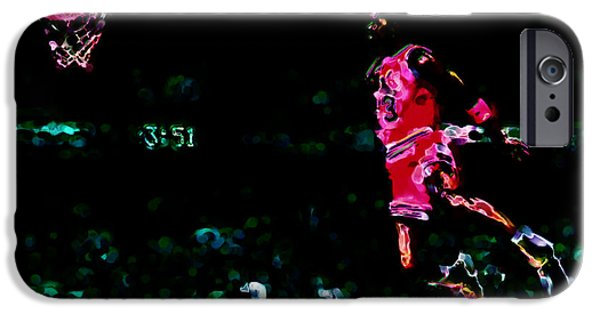 Dunk Paintings iPhone Cases - Air Jordan in Flight Thermal iPhone Case by Brian Reaves