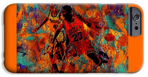 John Stockton iPhone Cases - Air Jordan in the Paint 02a iPhone Case by Brian Reaves