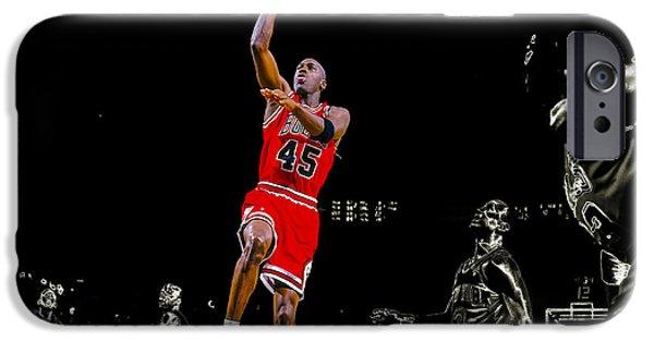 Michael Jordan Mixed Media iPhone Cases - Air Jordan Soaring iPhone Case by Brian Reaves