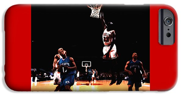 Dunk Mixed Media iPhone Cases - Air Jordan Spreading his Wings iPhone Case by Brian Reaves