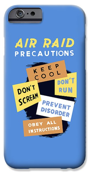 Safety iPhone Cases - Air Raid Precautions - WW2 iPhone Case by War Is Hell Store