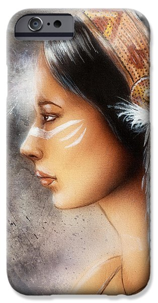 Native American Spirit Portrait iPhone Cases - Airbrush Painting Of A Young Indian Woman. Profile Portrait iPhone Case by Jozef Klopacka