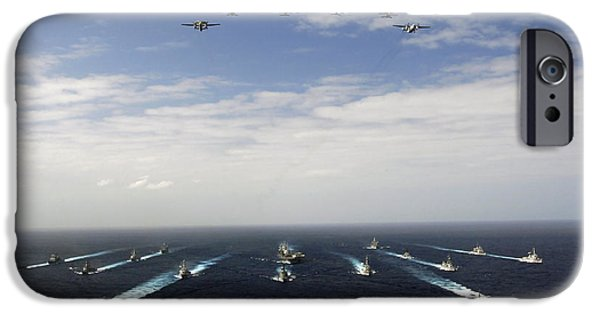 F-18 iPhone Cases - Aircraft Fly Over A Group Of U.s iPhone Case by Stocktrek Images