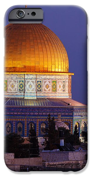 Cathedral Rock iPhone Cases - Al-Aqsa Mosque at Night Jerusalem Israel iPhone Case by Rostislav Ageev