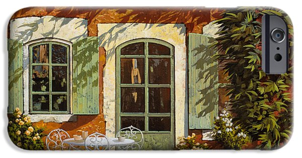 Shadow iPhone Cases - Al Fresco In Cortile iPhone Case by Guido Borelli