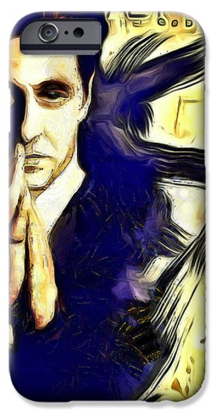 Robert De Niro Digital iPhone Cases - Al Pacino The Goodfather iPhone Case by Riccardo Zullian